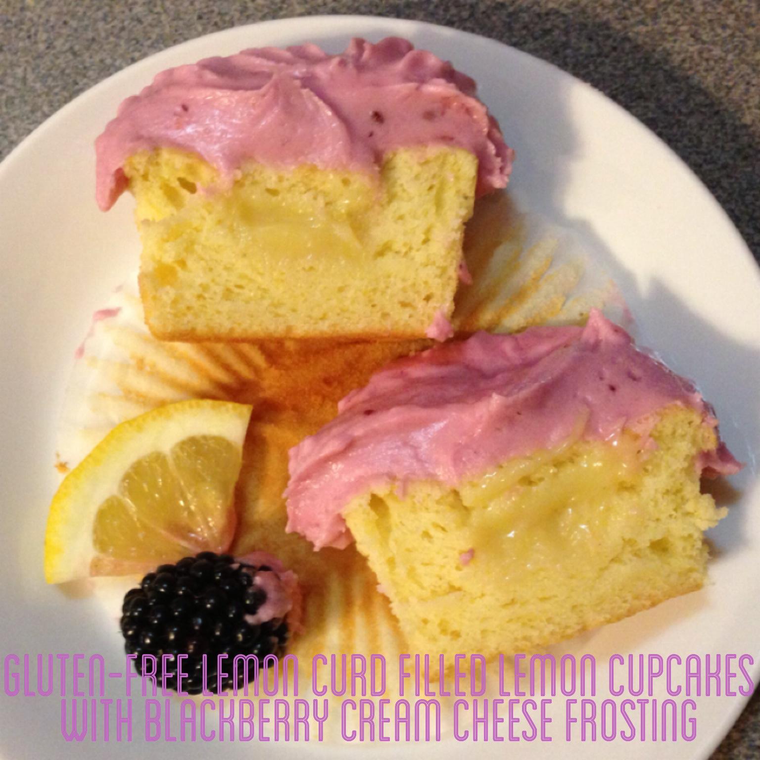 Gluten-Free Lemon Curd Filled Lemon Cupcakes with Blackberry Cream ...