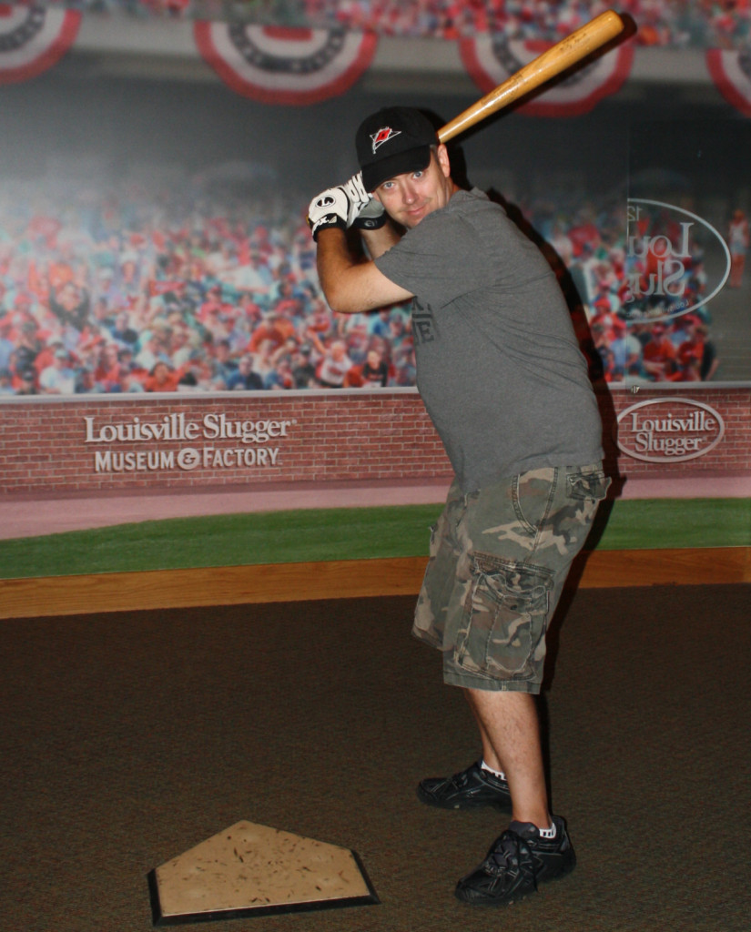Tom posing with Babe Ruth's bat