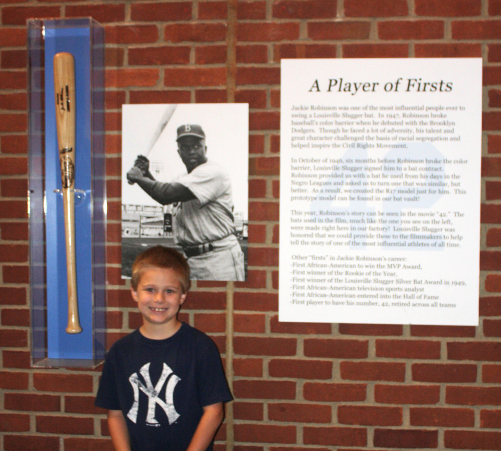 Hunter with his favorite player's info (Jackie Robinson)