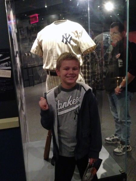 Hunter with one of Babe's uniforms