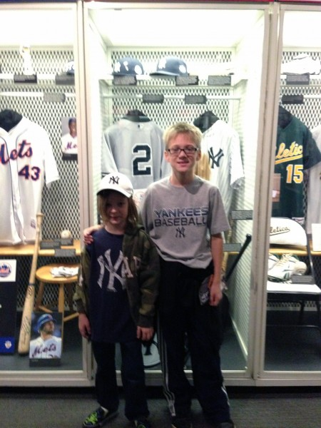 In front of the Yankees locker